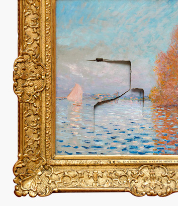 Detail of Monet's painting, damaged by a visitor in 2012 during its exhibition at the National Gallery of Ireland. Photo by Christie's.
